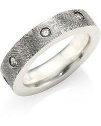Rene Escobar - Diamond & Sterling Silver Flat Band Ring - Lyst