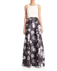 Aidan Mattox - Printed A-line Skirt Gown - Lyst