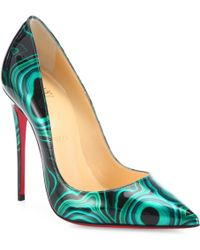 christian louboutin studded colorblock patent leather ankle-strap pumps