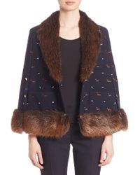 Thom Browne Fur-trimmed Embroidered Wool Cape - Blue