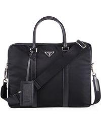Prada Solid Nylon Briefcase - Black