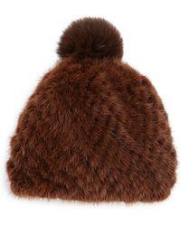 Pologeorgis - Mink & Fox Fur Knit Beanie - Lyst