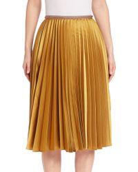 Leur Logette Accordion Pleated Skirt - Yellow