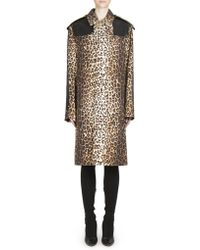 Givenchy - Leopard Printed Wool Coat - Lyst