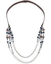 Peserico Multi-strand Beaded & Leather Necklace - Metallic