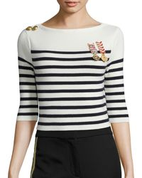 Tommy Hilfiger Sailor Cropped Long Sleeve Sweater - Blue