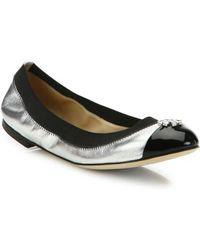 Tory Burch - Jolie Metallic Leather Ballet Flats - Lyst