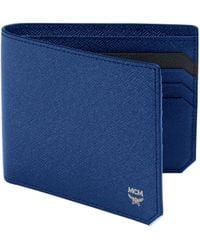 MCM New Bric Coated Canvas Wallet - Blue