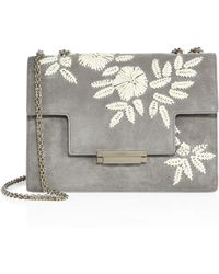 Aerin - Floral-embroidered Suede Crossbody Bag - Lyst
