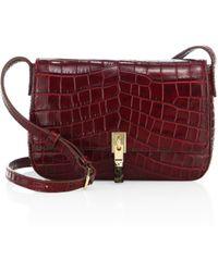 Cynnie Crocodile Embossed Leather Crossbody Bag