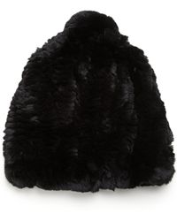Glamourpuss - Rabbit Fur Slouch Pom Hat - Lyst