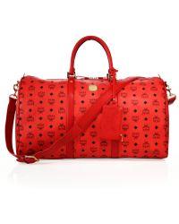 MCM Stark Monogram Weekender Bag - Red