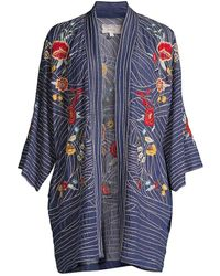 Johnny Was Katya Floral-embroidered Chambray Kimono - Blue
