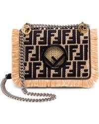 Fendi Small Kan I Chain Strap Raffia Bag - Black