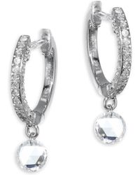 Meira T - Drilled Diamond Huggie Hoop Earrings - Lyst