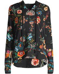 Johnny Was Floral Printed Pullover Hoodie - Black