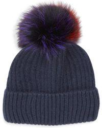 Glamourpuss - Multicolour Fox & Rabbit Fur Pom-pom Beanie - Lyst