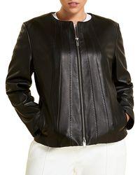 Marina Rinaldi Seamed Leather Jacket - Black