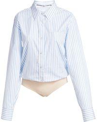 Alexander Wang Stripe Button-down Bodysuit - Blue