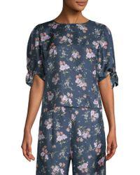 Rebecca Taylor - Emilia Floral Short Sleeve Tie Top - Lyst