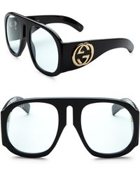 Gucci - 57mm Exaggerated Aviator Sunglasses - Lyst