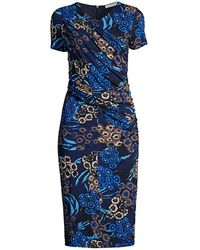 BOSS by Hugo Boss Erykah Floral Jersey Ruched Dress - Blue