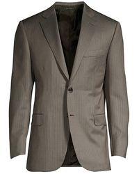Brioni Pinstripe Wool Suit Jacket - Gray