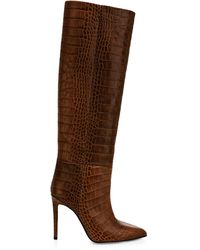 Paris Texas Knee-high Croc-embossed Leather Boots - Brown