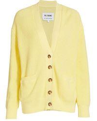 RE/DONE Oversized V-neck Cardigan - Yellow