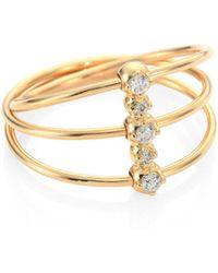 Mizuki - Diamond & 14k Yellow Gold Three-band Ring - Lyst