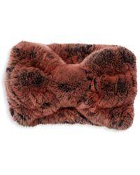 Surell Rex Rabbit Fur Knotted Headband - Multicolor