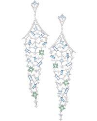 Adriana Orsini - Azure & Colored Crystal Long Chandelier Earrings - Lyst