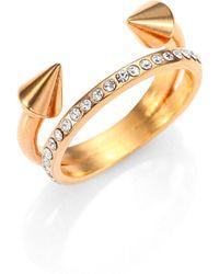 Vita Fede - Ultra Mini Titan Crystal Double-band Ring/rose Goldtone - Lyst