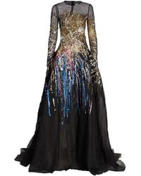 Oscar de la Renta Embroidered-firework Mesh Gown - Black