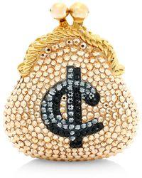 Judith Leiber Cents Coin Purse Crystal Pillbox - Metallic