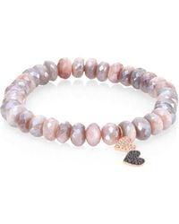 Sydney Evan - Double Heart Diamond, Moonstone & 14k Rose Gold Beaded Stretch Bracelet - Lyst
