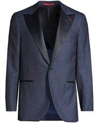Isaia Solid Single-breasted Wool, Silk & Linen Dinner Jacket - Blue