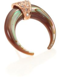 Jacquie Aiche - Women's Abalone, Diamond & 14k Rose Gold Double Horn Single Stud Earring - Rose Gold - Lyst