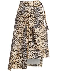 Jacquemus Deconstructed Button-front Animal-print Midi Skirt - Multicolor