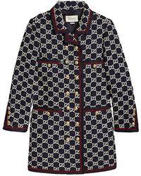 Gucci GG Pattern Tweed Coat - Blue