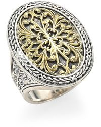 Konstantino Gold Classics Sterling Silver & 18k Yellow Gold Oval Filigree Ring - Metallic