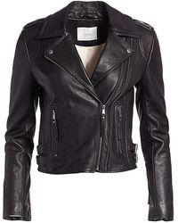 Joie Leolani Lamb Leather Moto Jacket - Black