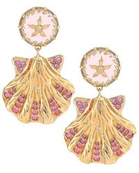 Versace Tresor De La Mer Crystal Seashell Drop Earrings - Metallic