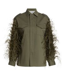 Valentino Feathered Cotton-gabardine Utility Jacket - Green