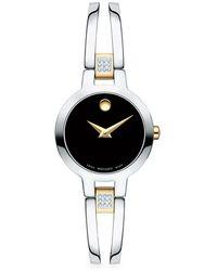 Movado Amorosa Diamond And Stainless Steel Bracelet Watch - Metallic