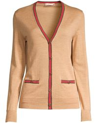 Tory Burch Madeline Cardigan With Logo Buttons - Natural