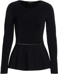 Theory Ladderwork-trim Peplum Sweater - Black