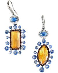 Sharon Khazzam Henry 18k White Gold & Multi-stone Mismatched Drop Earrings - Metallic
