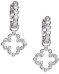 Jude Frances - Classic Diamond & 18k White Gold Open Clover Marquis Earring Charms - Lyst