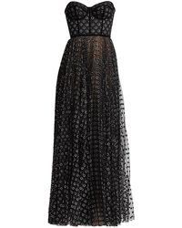 Ralph & Russo Metallic Polka Dot Strapless Corset Tulle Gown - Black